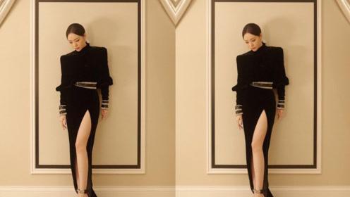 张靓颖着黑色高开叉长裙复古优雅 冷艳动人气场全开