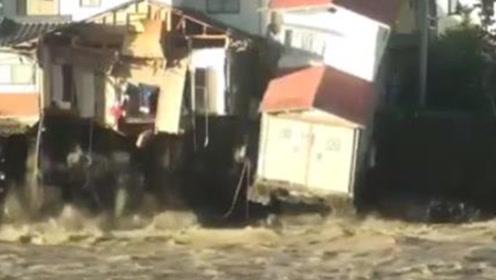 """台风""""海贝思""""过境日本 市民拍下民房垮塌瞬间"""