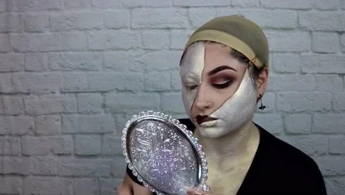 宛如将脸蛋撕开几部分的创意妆容,上色后,看着个性十足!