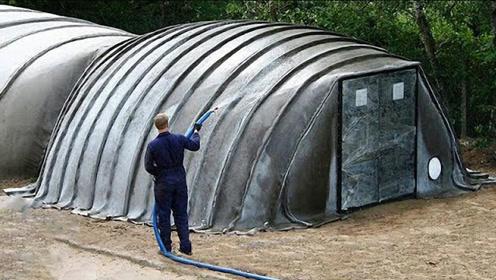 奇特的水泥毯房子,40分钟就可以建好,浇水就会变得十分坚固