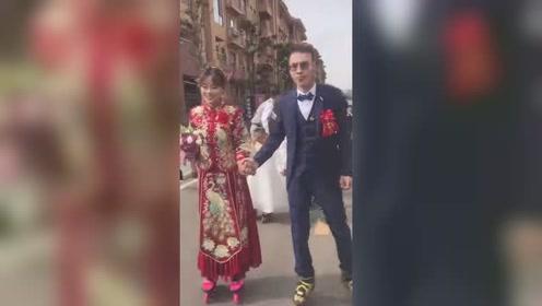 轮滑教练办另类婚礼,带40名学员脚踩轮滑组队迎亲