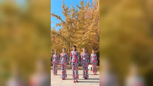 秋风落叶,美女如画,这样的场景好美啊