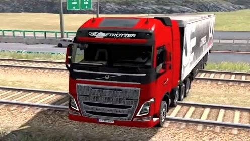 模拟驾驶:模拟驾驶大货车过铁路,路线难度太大了,一般人开不了!