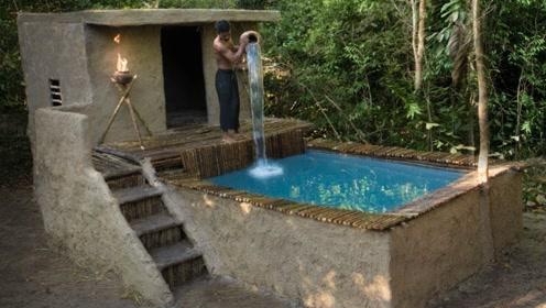 """牛人野外建造""""露天泳池"""",还自带豪华休息室,网友:简直太会享受了!"""