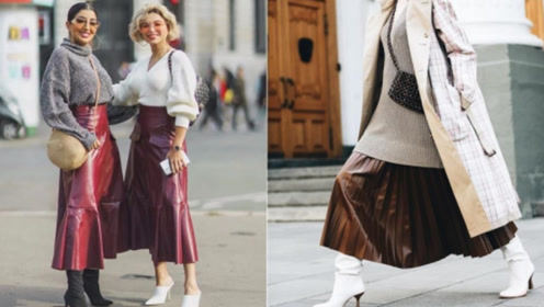 今年冬天我们气势也不会输!皮革裙的五种高级穿搭提案