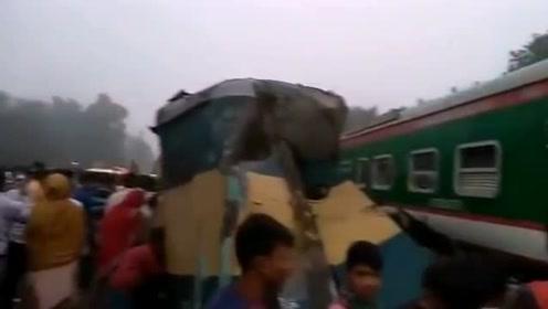 孟加拉国两火车相撞致14死40伤