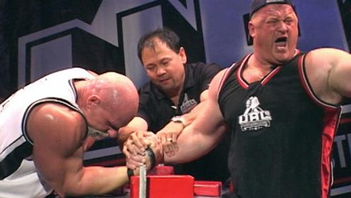 掰手腕界的超级神话,63岁重300斤,比施瓦辛格都要壮!