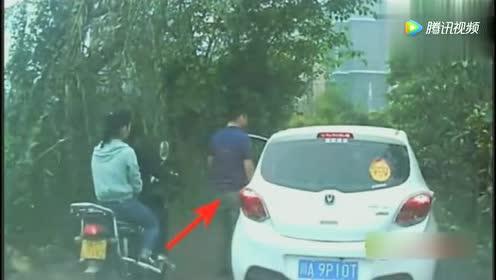 女司机刚下车!老公就感觉到不对劲!下一秒无语了!