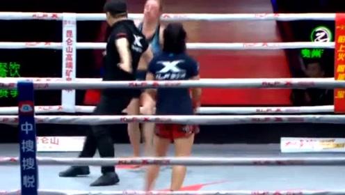 好激烈的比赛!河南女拳手年纪轻轻,出脚又狠又利落