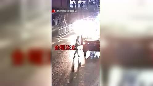 入魔了!浙江一男子过马路看手机 被撞后起身继续玩手机