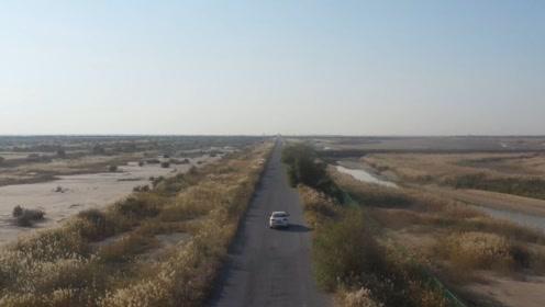 大疆无人机智能跟随,在广袤的黄河三角洲的公路上追车