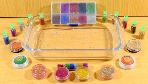 无硼砂史莱姆教程,解压透泰+彩色亮粉,手感不错呢