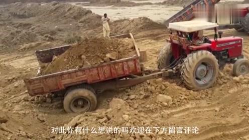 印度到处是奇葩,拖拉机充当渣土车,这油门踩的真是疯狂