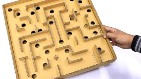 纸板制作一个弹珠迷宫游戏机,真是创意十足,太有趣了
