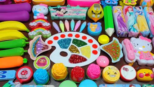 文具盒彩泥+玫瑰花彩泥+水果果冻泥+亮彩饰品,亮晶晶超漂亮史莱姆