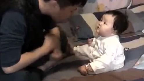 几个月大的萌娃不睡觉,被爸爸温柔教育,看到最后差点笑岔气!