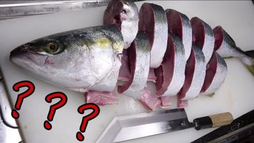 """小伙海钓10斤重的""""黄尾鱼"""",刀工精湛有技巧,蘸酱直接吃!"""
