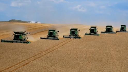 美国粮食出口第一是有原因的,看看人家的机械化水平,生产量巨高