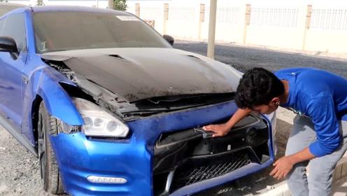 外国小哥幸运爆棚,刚到迪拜最大的废车场,就相中1辆废弃的GTR