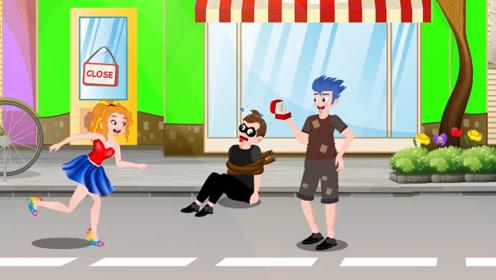 男孩逛街听到女孩喊抓贼,立马抓住小偷归还手镯,结果被女朋友看到吃醋了!