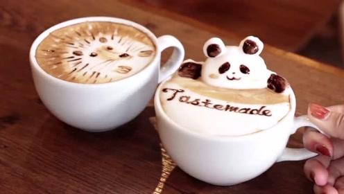 3D艺术拉花拿铁,日本小哥竟在咖啡杯上打造出一个动物园