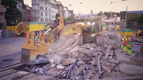 4分多钟看完,翻新瑞士一条交通要道,这就是现代速度