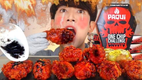 """韩国小哥吃""""超辣鸡腿"""",一口咬掉辣椒粉,下一秒不淡定了!"""