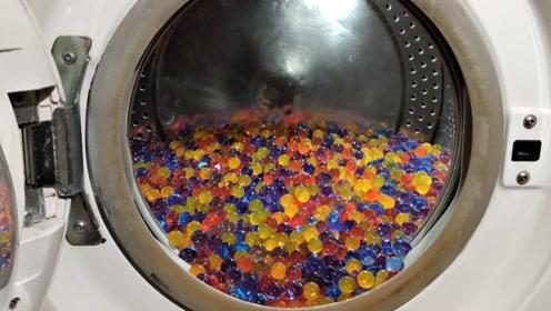 将1000个水宝宝放洗衣机里会怎样?老外亲测,翻滚画面不要太美!