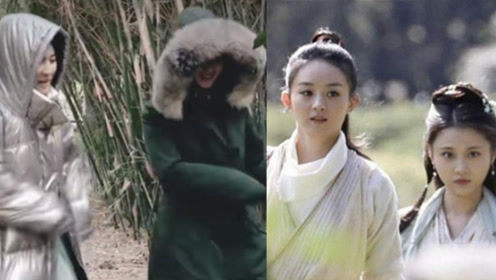 《有翡》片场赵丽颖和张慧雯穿羽绒服斗舞,憨憨的样子太可爱了