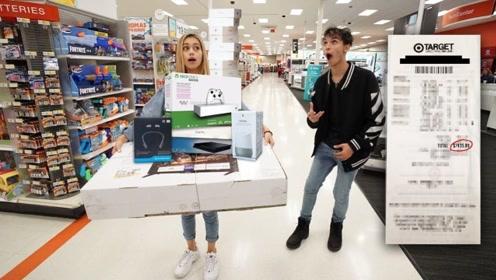 熊孩子带女友逛超市,想要什么就买什么,最后弟弟怎么着?