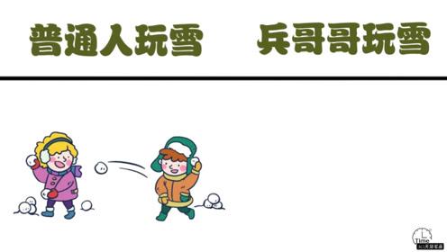 普通人玩雪vs兵哥哥玩雪,干啥都是规规矩矩的,可有意思了