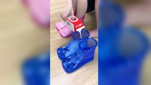 这个创意好,不下雨我家靴子也能派上用场了,不用花钱买了!