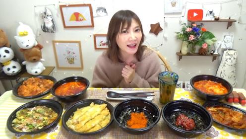 【木下大胃王】韩国料理【挑战捏饭团!】芝士土豆煎饼,芝士辣炒鸡等