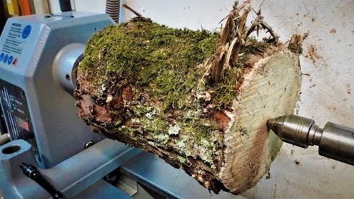 老外砍了截浑身青苔的树干,用机床雕刻蜂窝花瓶,过程让人舒爽