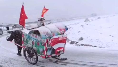 徒步拉车去雪山,这得需要多大的意志力和勇气佩服这种人!