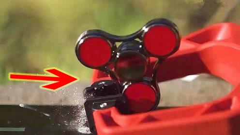 高速旋转的指尖陀螺有多恐怖?老外将其加速到160,对着手机做实验