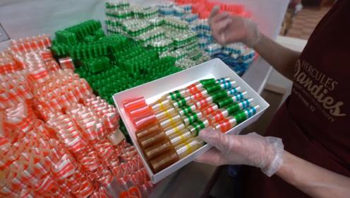糖稀变成五颜六色丝带糖的全过程:一拽一折就堆出糖果山!巨诱人