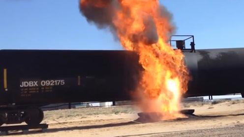 """比火灾更危险的""""原油沸溢"""",老外用废弃油罐车亲测,涨见识了!"""