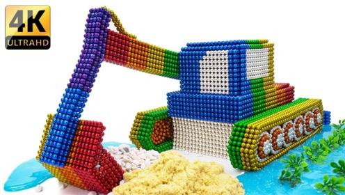 巴克球的新玩法,牛人用它打造出挖掘机,成品逼真,看得人过瘾