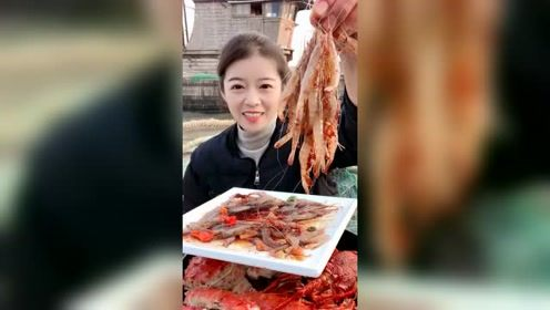 农村吃货姐生呛爆辣小白虾,海边的美食