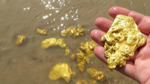 男子挖沙竟挖出大量金子,瞬间财运爆表,顿时高兴得笑出猪叫!