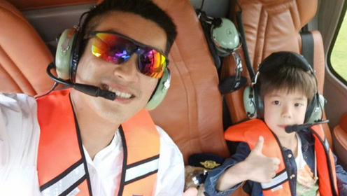 杜江带嗯哼三亚度假超有爱 父子俩同坐直升机享沙滩海景