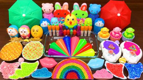 手工史莱姆教程,裱花袋彩泥+彩虹珍珠豆+米粒泥+菠萝果冻泥,是彩虹耶