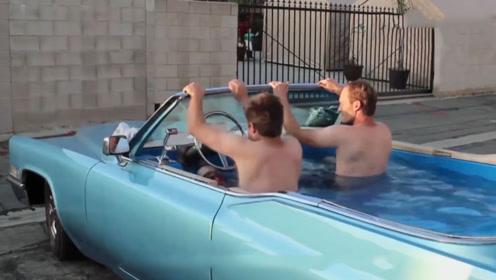 小伙豪车爆改泳池,一踩油门,简直就是街上最靓的仔!