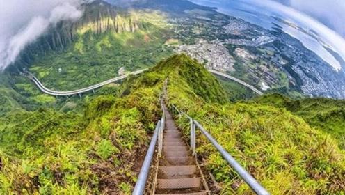 """夏威夷的""""死亡天梯"""",一失足便丧命,敢挑战的外国人络绎不绝!"""