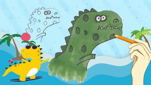 小鹿姐姐益智手工画:简单几笔 用手掌印画出一个大恐龙 创意手工