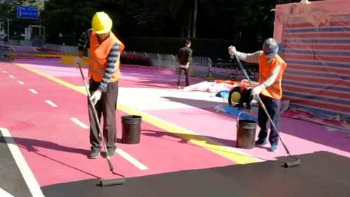 为造网红景点,深圳一路面刷成粉色遭吐槽,施工方正恢复原样