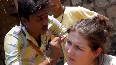 印度的采耳师傅技术有多好?小哥尝试,一勺下去,舒服到怀疑人生