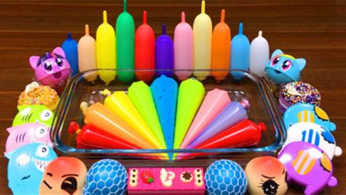 DIY史莱姆教程,彩虹裱花袋水晶泥+解压球+气球饰品,手感棒棒哒