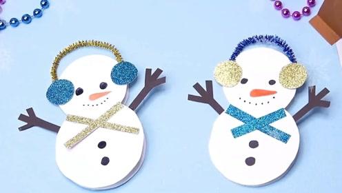 手工制作超简单的圣诞节雪人贺卡,简单的圣诞手工贺卡视频制作教程!